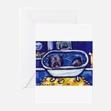 TIBETAN TERRIER bath Greeting Cards (Pk of 10)