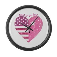 Joined at the Heart (pink) Large Wall Clock