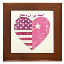 Joined at the Heart (pink) Framed Tile