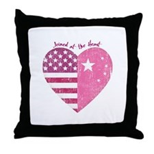 Joined at the Heart (pink) Throw Pillow