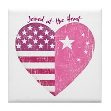 Joined at the Heart (pink) Tile Coaster