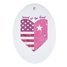 Joined at the Heart (pink) Oval Ornament