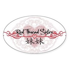 Red Thread Little Sister Oval Decal