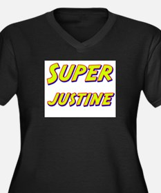 Super justine Women's Plus Size V-Neck Dark T-Shir