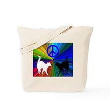 RAINBOW PEACE CATS/PAW PRINT Tote Bag