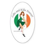 Irish Pin Up Girl Oval Sticker (50 pk)
