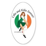 Irish Pin Up Girl Oval Sticker (10 pk)