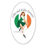 Irish Pin Up Girl Oval Sticker