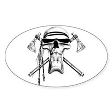 Indian Skull Oval Sticker (10 pk)