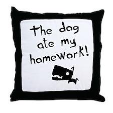 The Dog Ate My Homework Throw Pillow