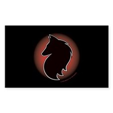 Red Sun Belgian Rectangle Sticker 10 pk)