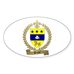 BRUNET Family Crest Oval Decal