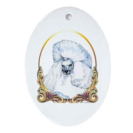 White Poodle Christmas Oval Ornament