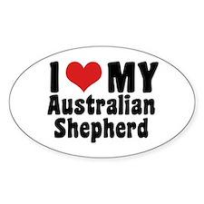 I Love My Australian Shepherd Oval Decal