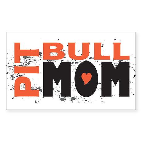 Pit Bull Mom Rectangle Sticker