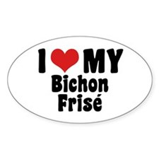 I Love My Bichon Frise Oval Decal