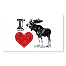 I Love Moose Rectangle Decal
