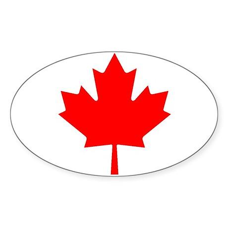 Maple Leaf Oval Sticker
