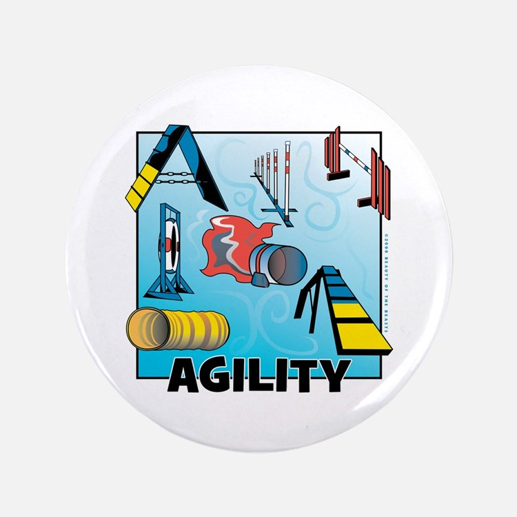 """Woodcut Agility Obstacles 3.5"""" Button"""