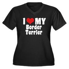 I Love My Border Terrier Women's Plus Size V-Neck