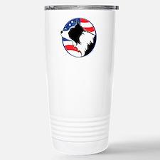Border Collie B&W Flag Travel Mug