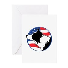 Border Collie B&W Flag Greeting Cards (Pk of 10)