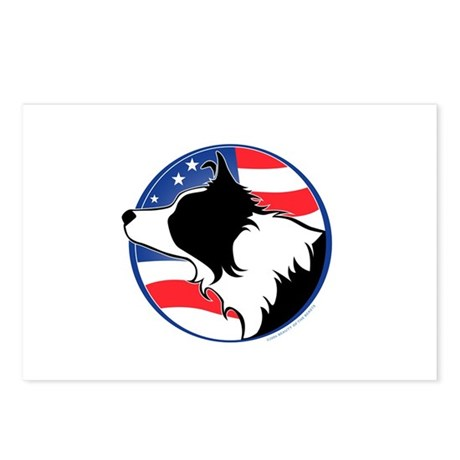 Border Collie B&W Flag Postcards (Package of 8)