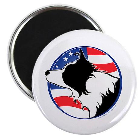 """Border Collie B&W Flag 2.25"""" Magnet (100 pack)"""