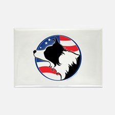 Border Collie B&W Flag Rectangle Magnet