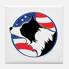 Border Collie B&W Flag Tile Coaster