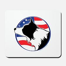 Border Collie B&W Flag Mousepad