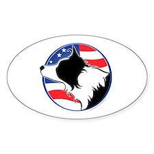 Border Collie B&W Flag Oval Decal