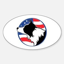 Border Collie B&W Flag Oval Decal