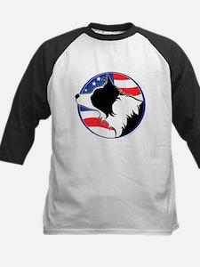 Border Collie B&W Flag Kids Baseball Jersey