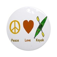 Peace,Luv,Kayak Ornament (Round)