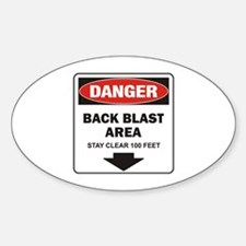 Danger Back Blast Oval Decal