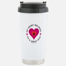 Heart Belongs Great Dog Travel Mug