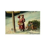 Santa Finding His Way Rectangle Magnet (10 pack)