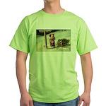 Santa Finding His Way Green T-Shirt