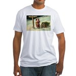 Santa Finding His Way Fitted T-Shirt