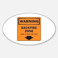 Warning Backfire Oval Decal