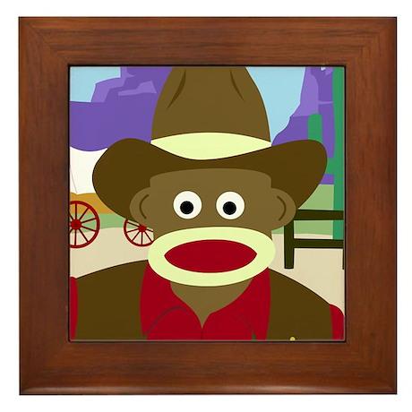 Sock Monkey Cowboy Framed Tile