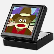 Sock Monkey Cowboy Keepsake Box