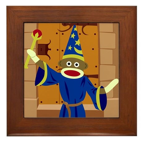 Sock Monkey Wizard Framed Tile
