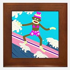 Sock Monkey Surfer Girl Framed Tile