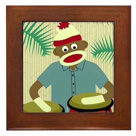 Sock Monkey Conga Drums Framed Tile