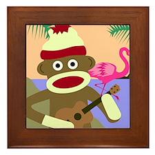 Sock Monkey Ukulele Framed Tile