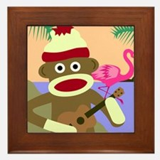 Sock Monkey Ukulele Framed Tile