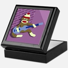 Sock Monkey Blue Guitar Keepsake Box