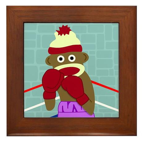 Sock Monkey Boxing Gloves Framed Tile